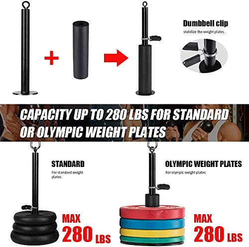 Morwealth Pulley Cable Machine Attachment System, LAT Pulley system gym With Tricep Rope, lat pulldown bar,Loading Pin for Tricep Extensions,Bicep Curls Home Gym exercise Equipment