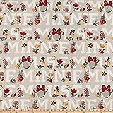 Disney 0645751 Fleece Traditional Minnie Mouse Stoff, grau,