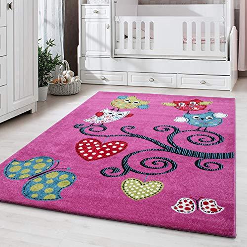 Ayyildiz Teppich-Kinderteppich Kinderzimmer Pflegeleicht niedlicher Eule Muster,  Polypropylen, Lila, 120 X 170