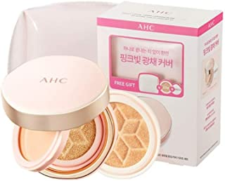 [Sale+Gift] AHC Perfect Dual Cover Foundation Cushion Glam Pink SPF50+/PA+++ (Cushion+Balm+Refill+Pink Pouch) - 21 Color