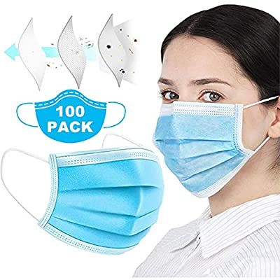 100pcs 3-Ply Disposable Face ???????????????? Can be Used in Offices, Households Sensitive to Pets, and Crowded Places, with Elastic Earloop Color (Blue)