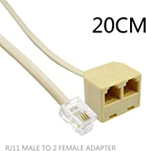 2Pack RJ11 Male to Female 6P4C to 2Female 6P4C Splitter Converter Cable