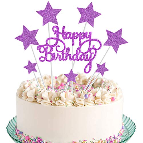 VAINECHAY Rosa Stella compleanno Cake Topper,candeline compleanno particolari,Happy Birthday Cake Topper,Decorazione Torta di Compleanno,decorazioni torte