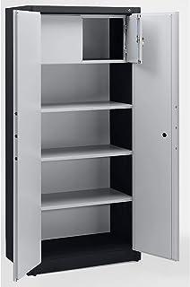 CP Armoire de sécurité - 3 tablettes réglables, 1 casier verrouillable gris noir / gris clair - Armoire Armoire coffre-for...