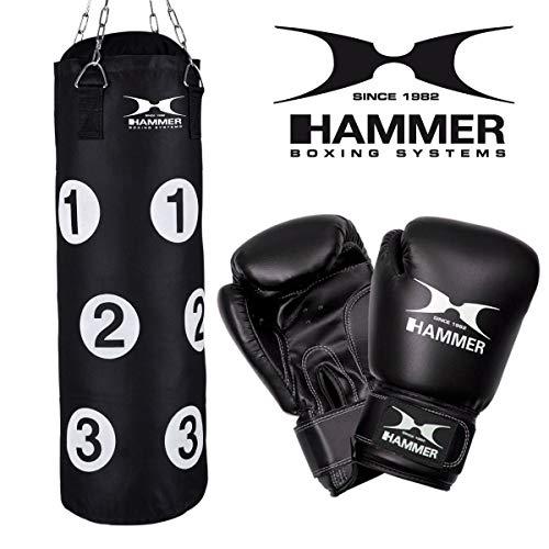HAMMER Box-Set Sparring, 80 cm Langer Boxsack mit nummerierten Trefferflächen, Boxhandschuhe, Drehwirbel