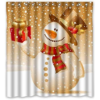 Unique Custom Merry Christmas Santa Claus and Snowman Waterproof Fabric Polyester Shower Curtain 66X72-Bathroom Decor CHARMING-SC