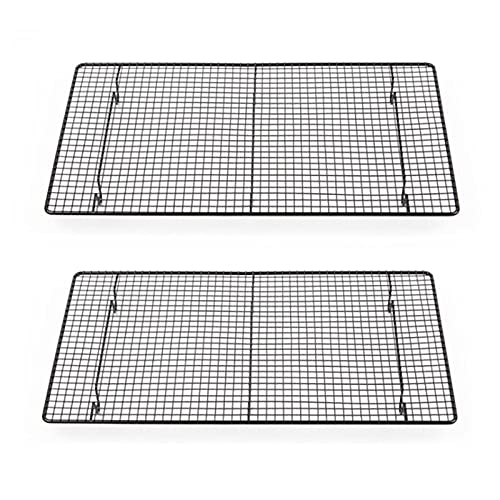 2 Pack Baking Cooling Racks Carbon Steel Oven Grill Wire Racks Rust Proof Cookie Sheet Pans for Cooking Roasting Grilling 18 x 10 Inches