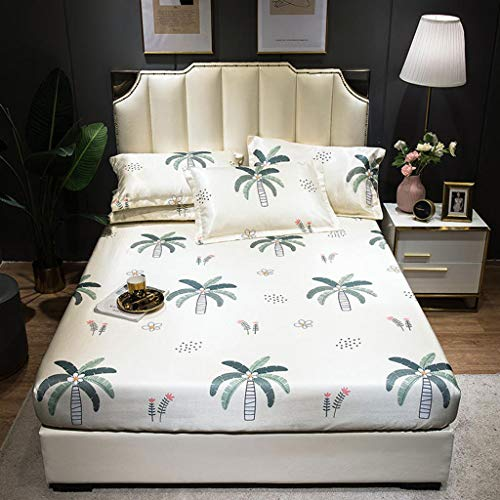 CPPI-1 Cooling Topper Mattress Cooling Topper Mat, Foldable Ice Silk Mats, Beige Coconut Tree-strawberry-green Golden Flower-angeli-, No Color Fade Summer Sleeping Mattress Pad Mat,