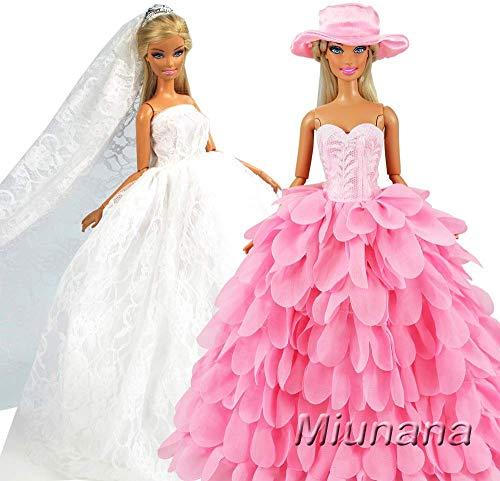Miunana 2X Trajes de Vestidos Novia Princesa Juegos Ropa