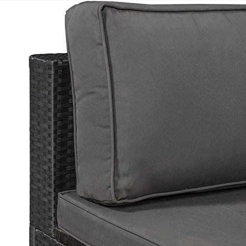 ArtLife Polyrattan Lounge Nassau schwarz | Gartenmöbel-Set mit Ecksofa & Tisch | dunkelgraue Bezüge | Sitzgruppe für Terrasse & Wintergarten - 4