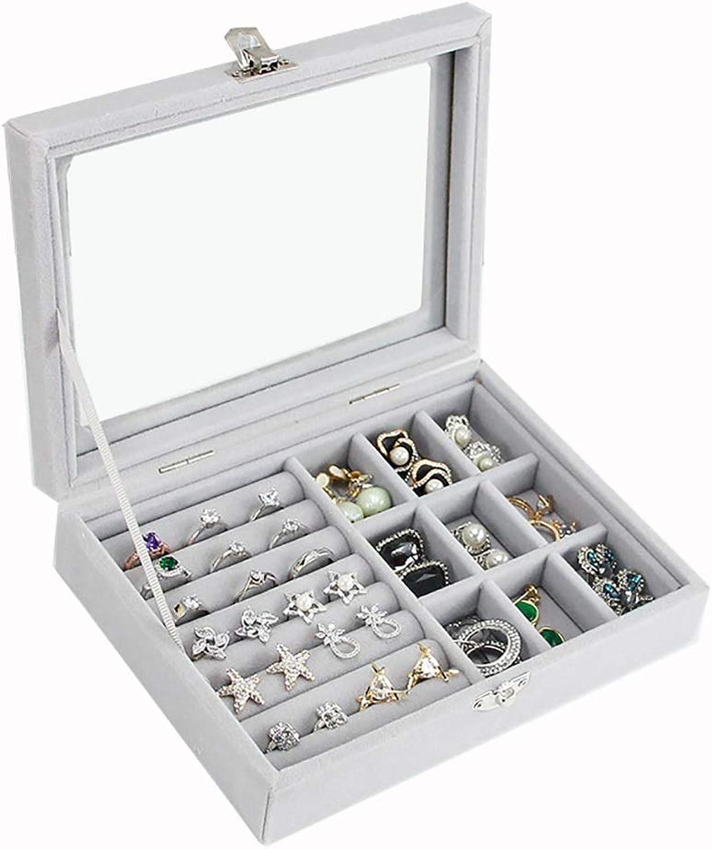 Estilo moderno femenino antiguo de franela caja de almacenamiento anillo pulsera organizador caja de joyería portátil kit multiusos