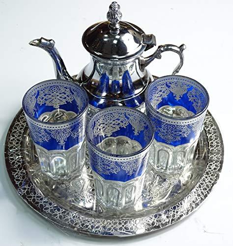 Juego de te marroquí pequeño artesanal : bandeja 25 cm + tetera + 3 vasos de cristal (Cocina)