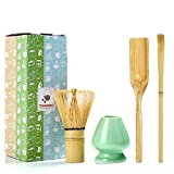 TEANAGOO EMA-01 Janpanese Matcha Ceremony Accessory, Matcha Whisk (Chasen), Traditional Scoop (Chashaku), Tea Spoon, Whisk Holder, The Perfect Set to Prepare a Traditional Cup of Matcha.