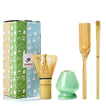 TEANAGOO MA-01 Japanese Matcha Ceremony Accessory Matcha Whisk  Chasen  Traditional Scoop  Chashaku  Tea Spoon Whisk Holder The Perfect Set to Prepare a Traditional Cup of Matcha.