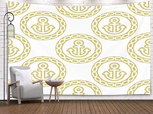 N\A Anchor, Art Tapestry, Tapiz para Colgar en la Pared, tapices Deacutecor Living Room Dormitorio para el hogar Inhouse por Impreso para con Anclas y Cadenas Fondo Continuo de Tema Marino Golden co