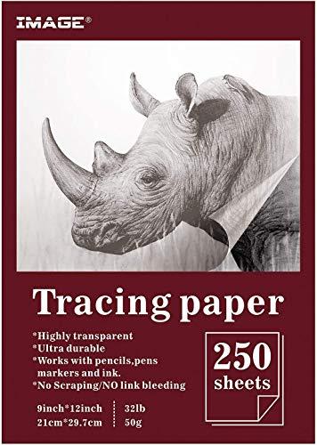 IMAGE 250 Blatt Transparentpapier bedruckbar A4 weißes Skizzenpapier zum Zeichnen Basteln Abpausen