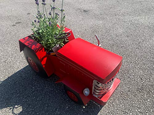 Pricecrunchers Vintage Tractor | Design Planters | Tractor Design | Unique & Hand Painted | Great as a Gift | Pack of 4 | Red