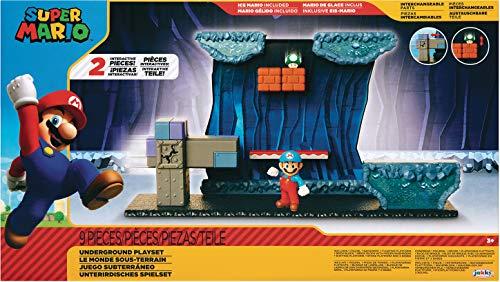 SUPER MARIO Underground playset with Ice Mario Action Figure Includes 2 Interactive Environment Pieces