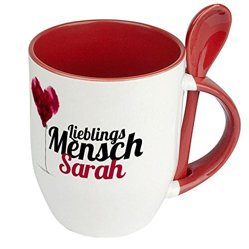 printplanet Löffeltasse mit Namen Sarah - Motiv Lieblingsmensch - Namenstasse, Kaffeebecher, Mug, Becher, Kaffeetasse - Farbe Rot