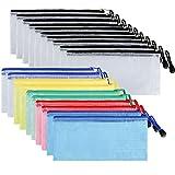 Bolsa de Documentos con Cremallera,20 Piezas Almacenamiento Máscara Carteras de Documentos de Plástico para Cosméticos,Estuche de Lápices