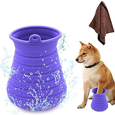 Idepet Dog Paw Cleaner Cup with Towel Pet Foot Washer Protable Dogs Cleaning Brush for Puppy Cats Massage Grooming Dirty Claws (Purple) by Idepet