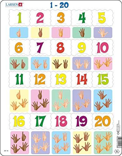Larsen AR18 Lerne zählen: Zahlen von 1 bis 20, Rahmenpuzzle mit 20 Teilen