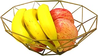 Outdoorfly Creative Fruit Dish Bowl Basket Container Centerpiece Bowl Fruit & Vegetables Storage Basket Fashion Luxury Candy Dish Dry Pots for Living Room, Kitchen, Countertop(Polygon Gold)