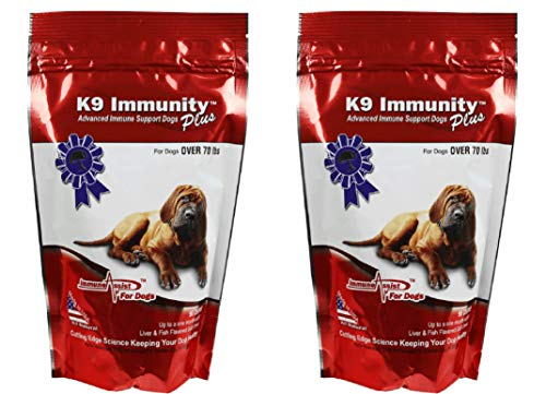 Aloha Medicinals - K9 Immunity Plus - Potent Immune Booster For Dogs Over 70 Pounds - Certified Organic – Mushroom Enhanced Supplement - Veterinarian Recommended Dog Health Supplement –90 Chews 2 Pack