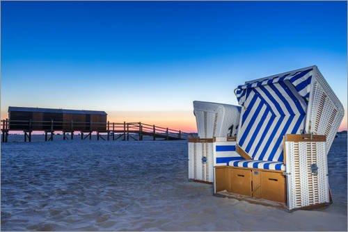 Posterlounge Leinwandbild 60 x 40 cm: Am Strand von Sankt Peter Ording Strandkorb von Dennis Stracke - fertiges Wandbild, Bild auf Keilrahmen, Fertigbild auf echter Leinwand, Leinwanddruck