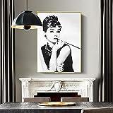 JLFDHR Impresión sobre lienzo 60x80cm sin marco Negro Blanco Audrey Hepburn Retrato Maquillaje Moderno Póster Impresiones Arte de Pared Cuadros para Decoración de Dormitorio