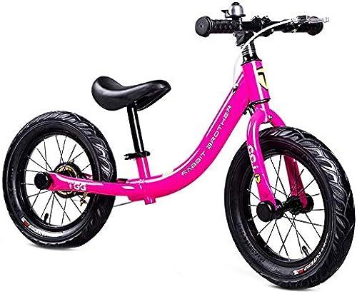 Laufrad Laufrad - 14 Zoll Luftreifen für 4, 5, 6, 7, 8 Jahre alt, Handbremse & Pedale Design (Schwarz Grün, Rosa) (Farbe   Rosa)
