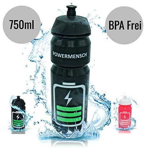 cpba germany – 750ml POWERMENSCH Bio Radflasche TacX Shiva Trinkflasche Bike Bottle Wasserflasche ohne Plastik Kunststoff - BPA-FREI - Triathlon Sport - Sporttrinkflasche