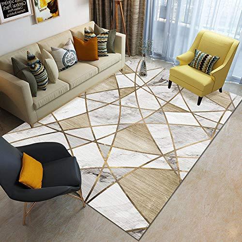 Alfombra de salón tradicional – Luz de hotel estilo de lujo mármol impreso 3D alfombra moderna de pelo corto antideslizante – 120 cm x 160 cm