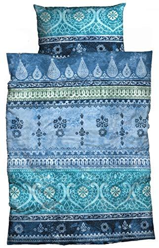 LIVING DREAMS Bettwäsche Indi Baumwolle blau 135x200 cm orientalische Ornamente Bordüren Bettwäsche-Set modernes Landhaus Italienischer Flair so hip