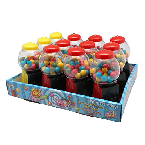 Sweet Flash Mini Kaugummiautomat, 12 Stück im Display, Mitgebsel für den Kindergeburtstag, bunt, gefüllt