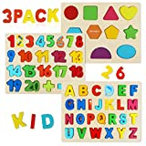Wooden Puzzles for Toddlers, Aitey Wooden Alphabet Number Puzzles Toddler Learning Puzzle Toys for Kids Ages 3 4 5(Set of 3)