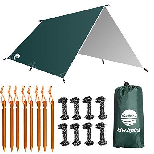 Etechydra Zeltplane Wasserdicht 3 x 3m, Zeltplane Sonnensegel für Camping Ourdoor, Wandern, Picknick, Hängematten Zelt Zeltplanen Tent Tarp, Leichte Tragbare Regen Fliegen, Zeltplane Grün