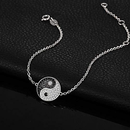 HJPAM Schwarzes Spinell Armreif 925 Sterling Silber Edelsteine Armbänder Für Frauen Silber 925 Schmuck Armbänder