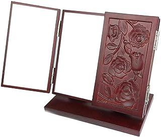 Desktop Makeup Mirror Wood Folding Four-Leaf Grass Vanity Mirror Engraving Dressing Table Mirror Size: Length 18* Wide 10* Height 17.5cm partition Storage no Garden Pattern