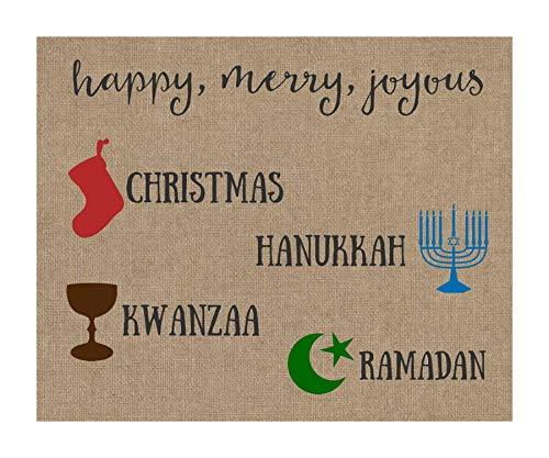Merry Everything Christmas Card Hipster Holiday Greeting Cards Happy Holidays Christmas Kwanzaa Hanukkah Ramadan Joyous Burlap Design Inclusive Religious Religion Pack of Cards (24 Count)