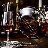 ADMY Wein Dekanter, 1.8L Weinkaraffe Set aus Kristallglas, Rotwein Bleifreies Glasdekanter, Dekantiergefäß Glasbelüftungsweinkaraffe Decanter, Dekantierflasche Geschenk für Weihnachten Weinliebhaber - 4