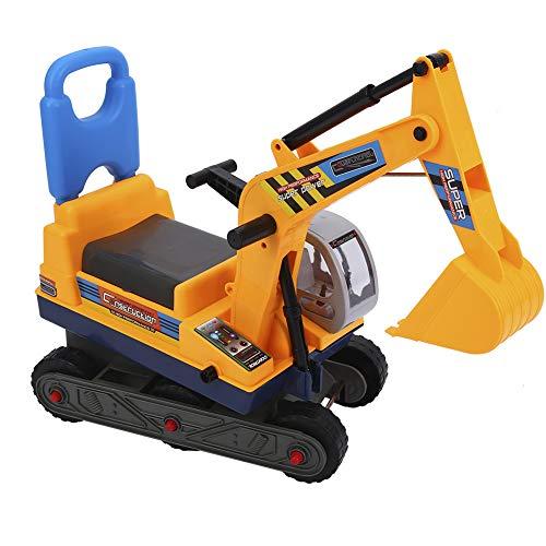 Ejoyous Ride On Excavator Digger, Children's Ride On Walker Push Along Excavator with Comfortable Backrest, Child Excavator Seat with Safety Helmet Non-slip Wheel Design, 55.5 x45cm