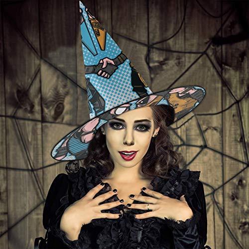 NUJIFGYTCRD Sombrero de Bruja con Espionaje de espía y espía, para Halloween, Unisex, para Vacaciones, Halloween, Navidad, Carnaval, Fiesta
