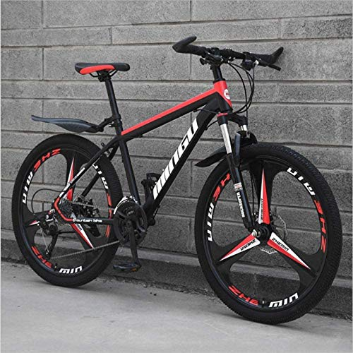 HCMNME Durable Bicycle, 26 inch Mountain Bike Variable Speed Off-Road Shock-Absorbing Bicycle Light Road Racing Three-Wheel Alloy Frame with Disc Brakes (Color : Black red, Size : 27 Speed)