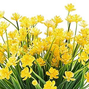 Sandulescu2975 Artificial Fake Flowers 4pcs Faux Yellow Daffodils Greenery Shrubs Plants Plastic Bushes Indoor – Plant Bush Green Flower Pot Bush Pu In Flowers Artificial Flower Dried Yellow Narci
