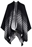 QZUnique Women's Blanket Wrap Houndstooth Knitted Cardigans Scarf Shawl Poncho Cape Black White