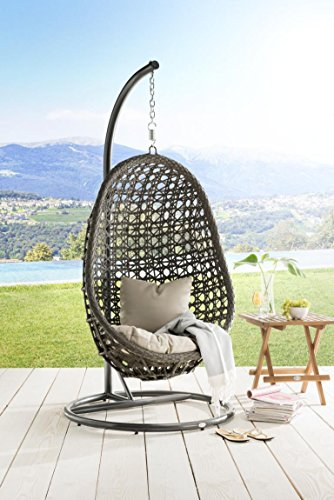 DESTINY Hängesessel Coco, Kunststoff, inkl. Sitz- und Rückenkissen 1 Stuhl, dunkelgrau - 4