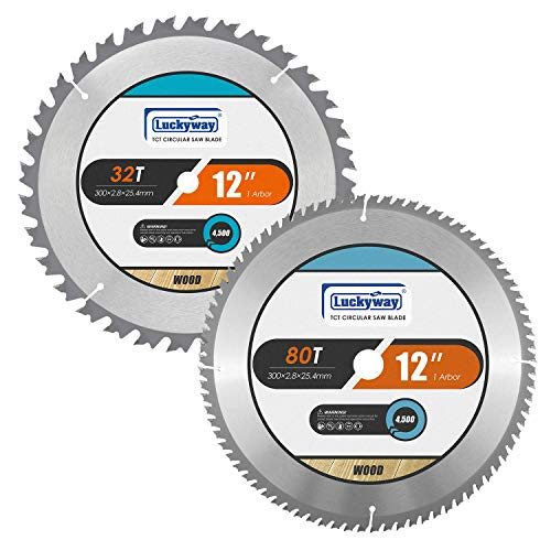 Luckyway 2-Pack 12 Inch Miter Saw Blades 32T&80T with 1 Inch Arbor TCT Circular Saw Blade for Cutting Wood