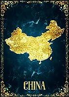 抽象的な黄金の地図のキャンバスアート中国の国の地図 ﹣DIY 5Dダイヤモンドペインティングフルラウンドドリルキット﹣家の壁の装飾の誕生日プレゼントのためのDIYアートクラフト 50X70cm