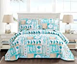 3-Piece Ocean Bedspread Set Reversible Cartoon Bed Sheet Lake Blue Green Beach Seahorse Coastal Quilt Conch Cartoon Seashell Bedspread for Kids Full/Queen Size Summer Coverlets with Two Pillowcases